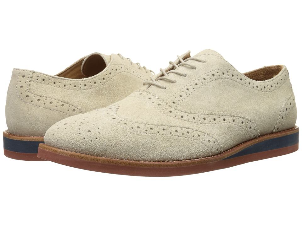 1940s Style Mens Shoes Polo Ralph Lauren - Johnsly Cream Sport Suede Mens Lace Up Wing Tip Shoes $104.99 AT vintagedancer.com