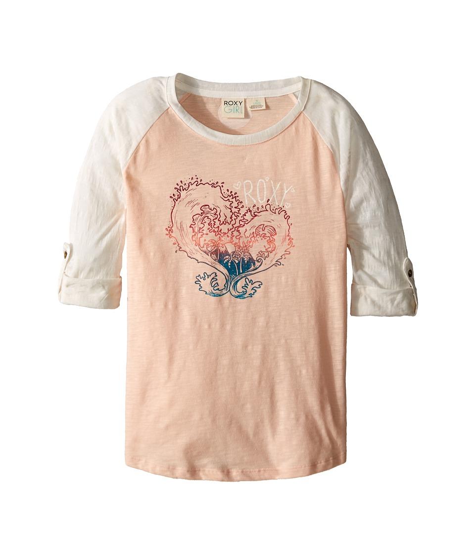 Roxy Kids Waved Heart Tee Big Kids Pale Peach Girls Long Sleeve Pullover