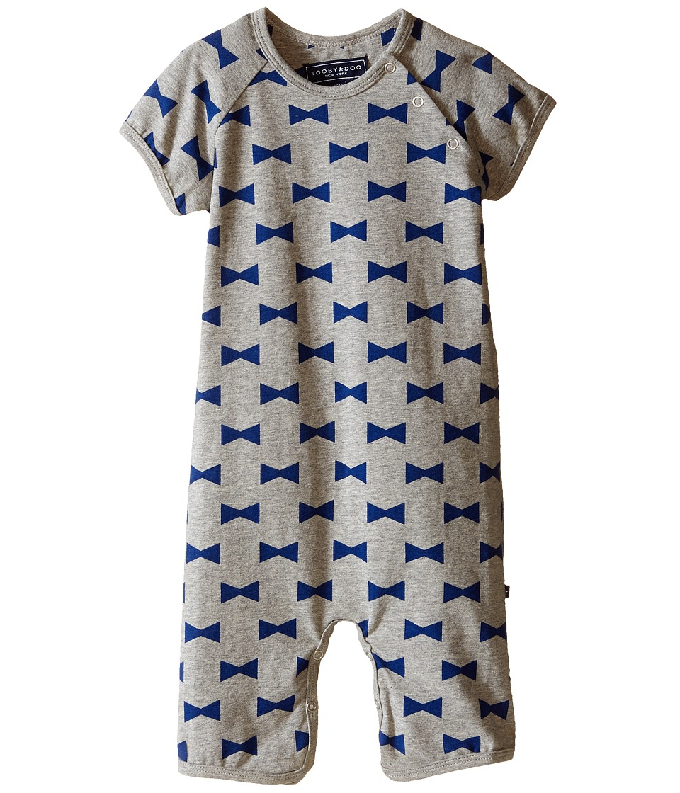 Toobydoo Navy/Bow Shortie Jumpsuit Infant Grey/Navy Boys Jumpsuit Rompers One Piece