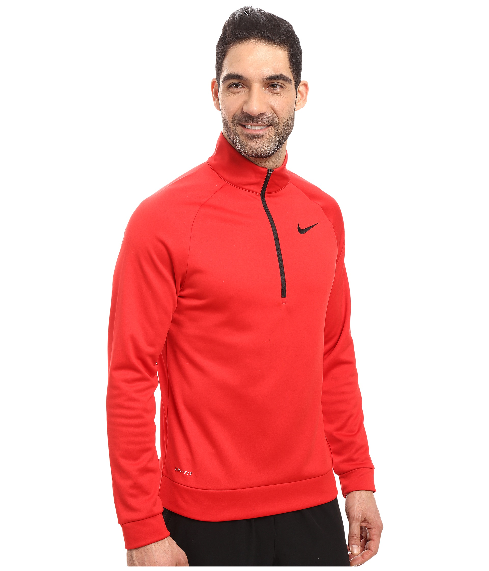 nike therma 1 4 zip pullover university red black free shipping both ways. Black Bedroom Furniture Sets. Home Design Ideas