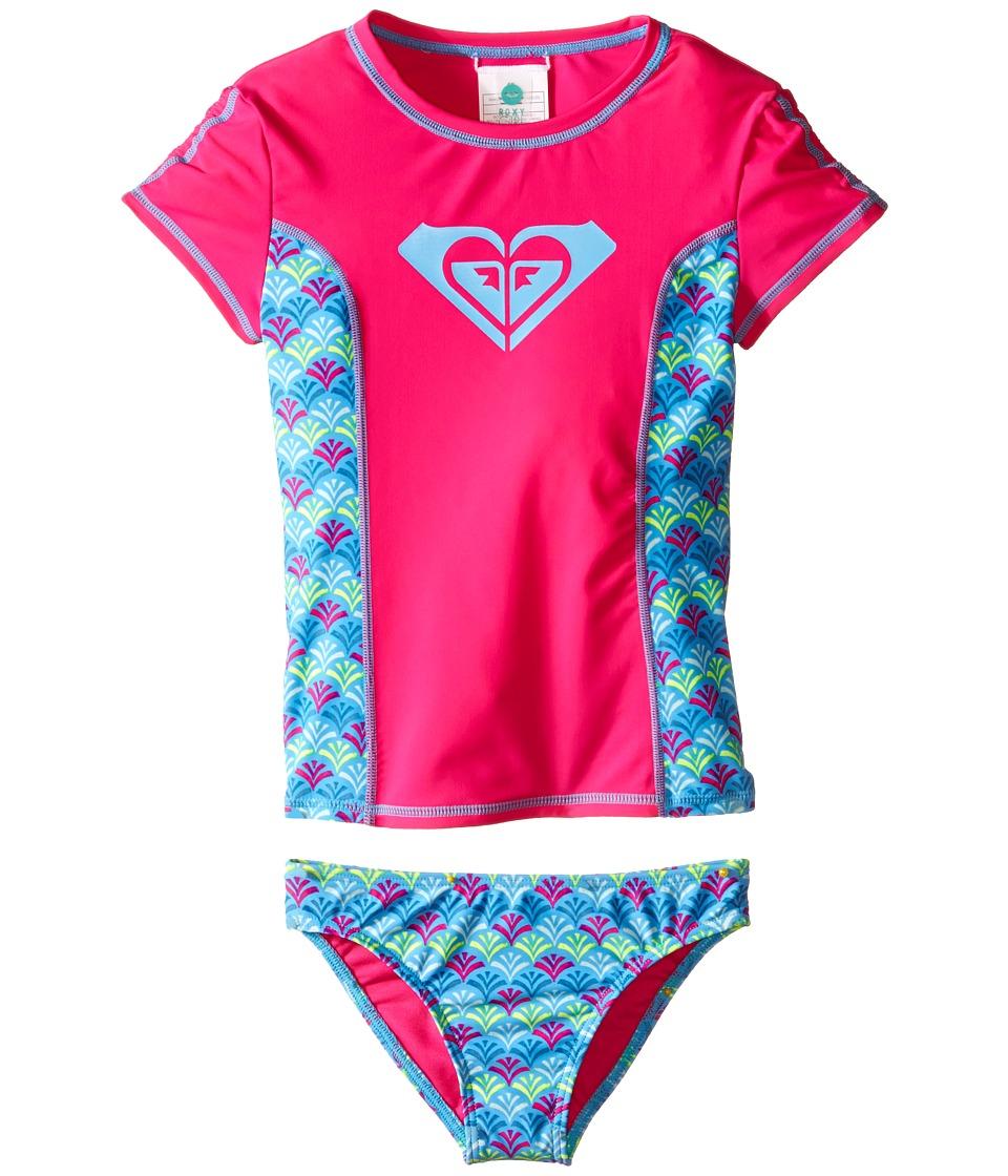 Roxy Kids Tiles Rashguard Set Toddler/Little Kids Camellia Rose Girls Swimwear Sets