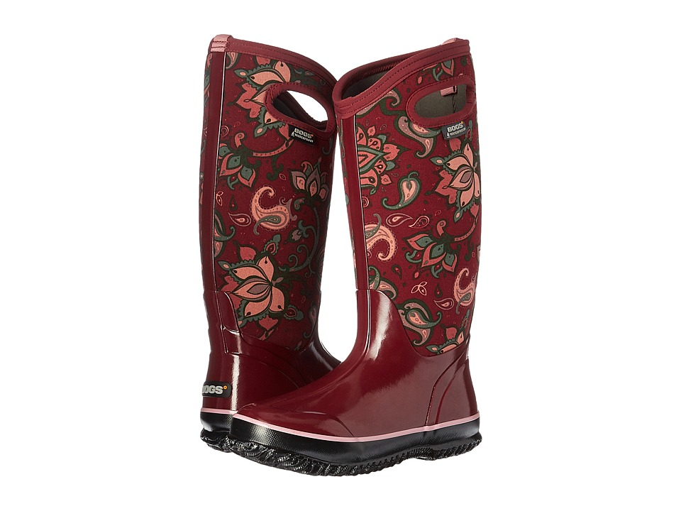 Bogs - Classic Paisley Floral Tall (Burgundy Multi) Women
