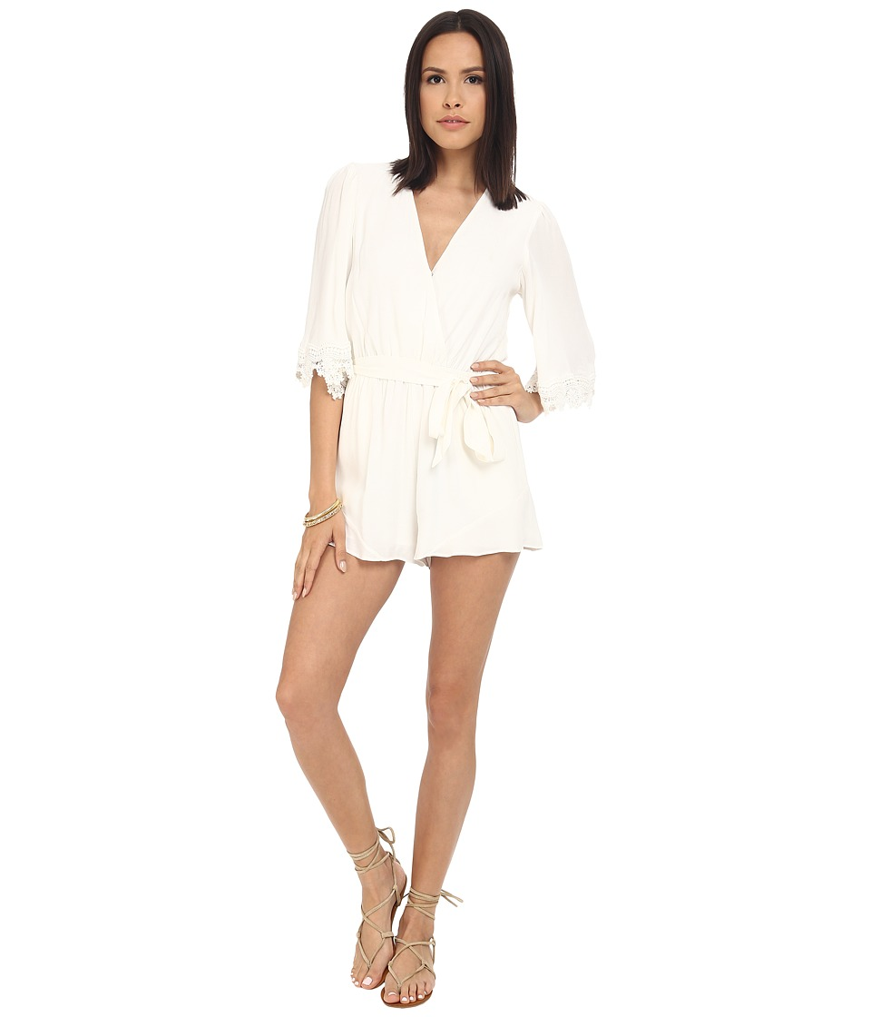 Lovers Friends Reese Romper Ivory Womens Jumpsuit Rompers One Piece