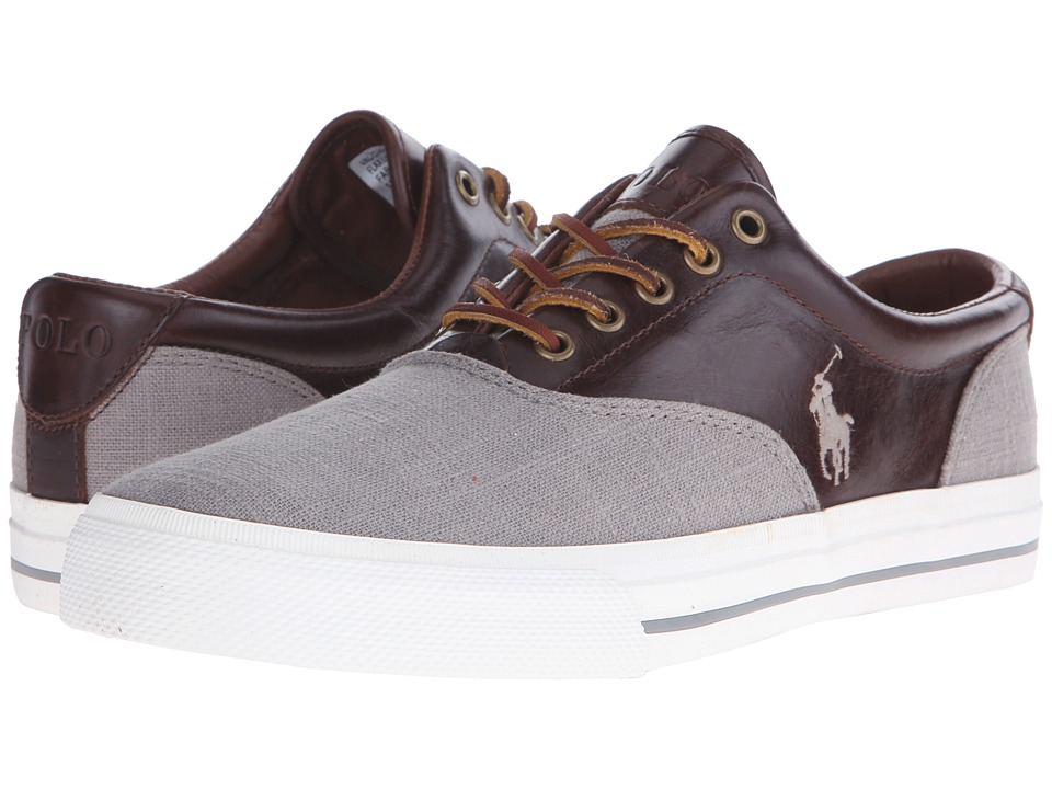 Polo Ralph Lauren - Vaughn Saddle (Grey/Tan Flax Linen/Smooth Oil Leather) Men