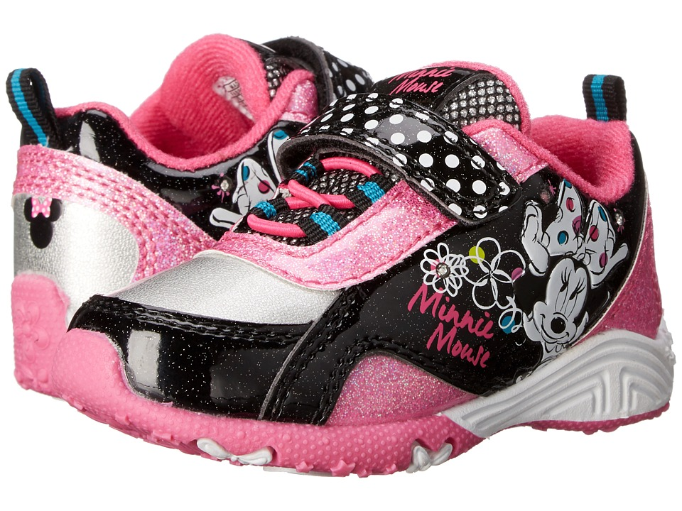 Josmo Kids Minnie Bungee Sneaker Toddler/Little Kid Black Patent/Fuchsia Girls Shoes