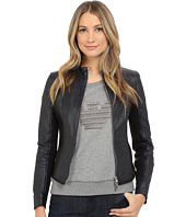 Armani Jeans - Lamb Leather with Scuba Mesh Detail Blouse