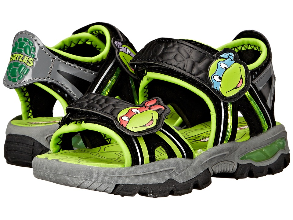 Josmo Kids Ninja Turtle Lighted Sandal Toddler/Little Kid Black/Green Boys Shoes