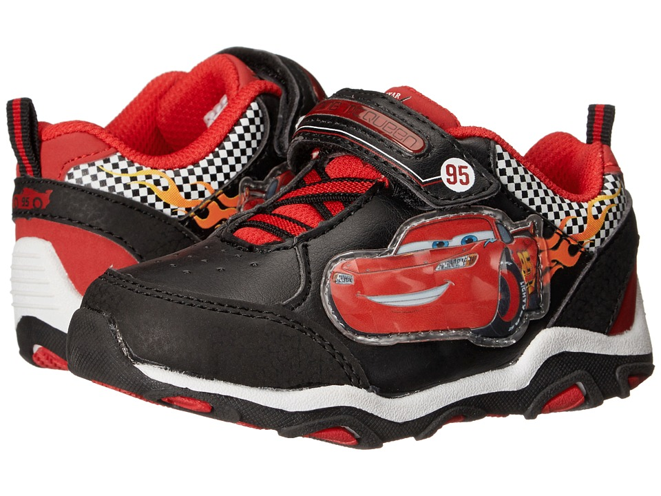 Josmo Kids Cars Lighted Strap Sneaker Toddler/Little Kid Black/Red Boys Shoes