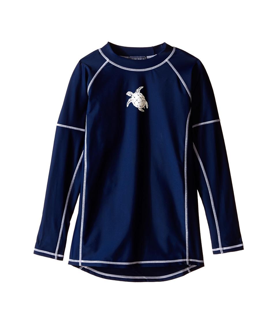Toobydoo Turtle Long Sleeve Rashguard Infant/Toddler/Little Kids/Big Kids Navy/Turtle Design Boys Swimwear