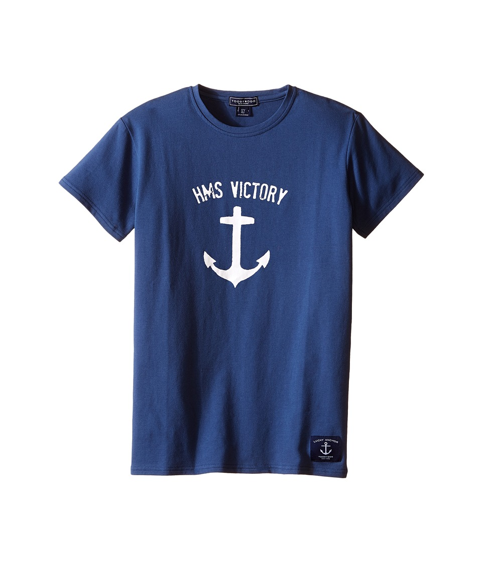 Toobydoo Short Sleeve Graphic T Shirt Infant/Toddler/Little Kids/Big Kids Navy/Anchor Boys T Shirt