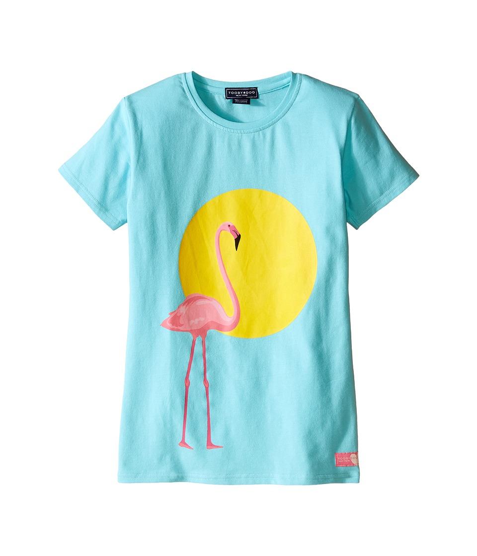 Toobydoo Short Sleeve Graphic Print T Shirt Toddler/Little Kids/Big Kids Blue/Flamingo Graphic Girls T Shirt