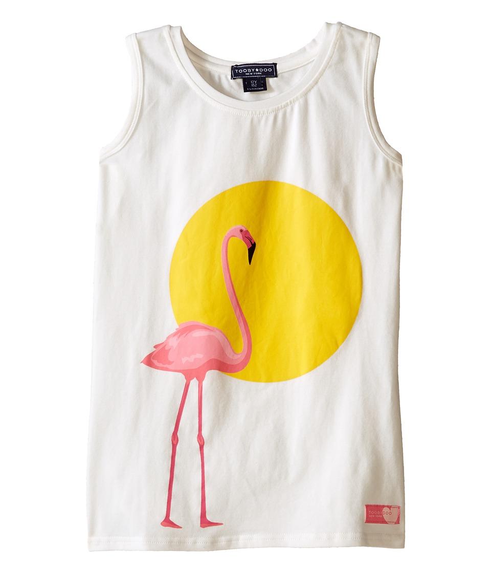Toobydoo Tank Graphic Print T Shirt Toddler/Little Kids/Big Kids White/Flamingo Graphic Girls Sleeveless