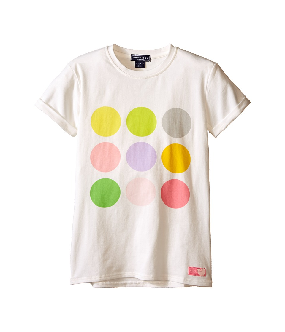 Toobydoo Short Sleeve Graphic Print T Shirt Toddler/Little Kids/Big Kids White/Color Dots Graphic Girls T Shirt