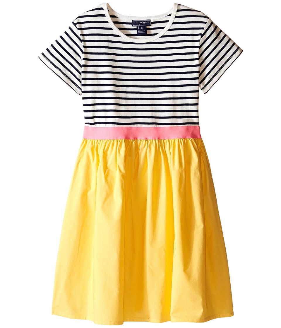 Toobydoo Short Sleeve Tulle Twirl Dress Toddler/Little Kids/Big Kids Navy/White/Pink/Yellow Girls Dress