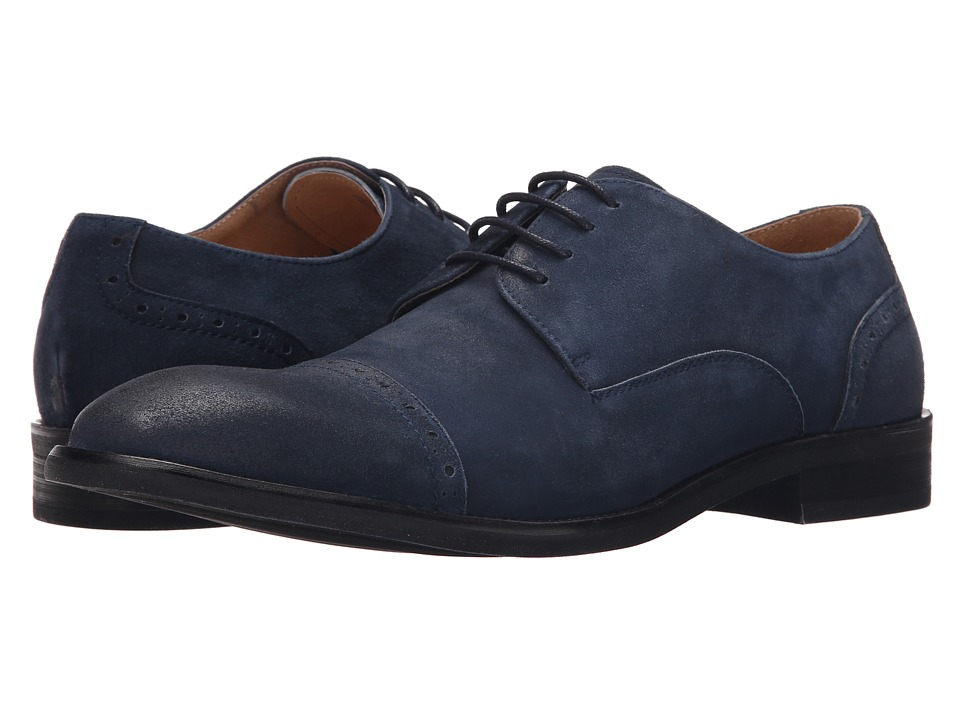 Kenneth Cole New York - System-Atic Navy Mens Lace Up Cap Toe Shoes $160.00 AT vintagedancer.com