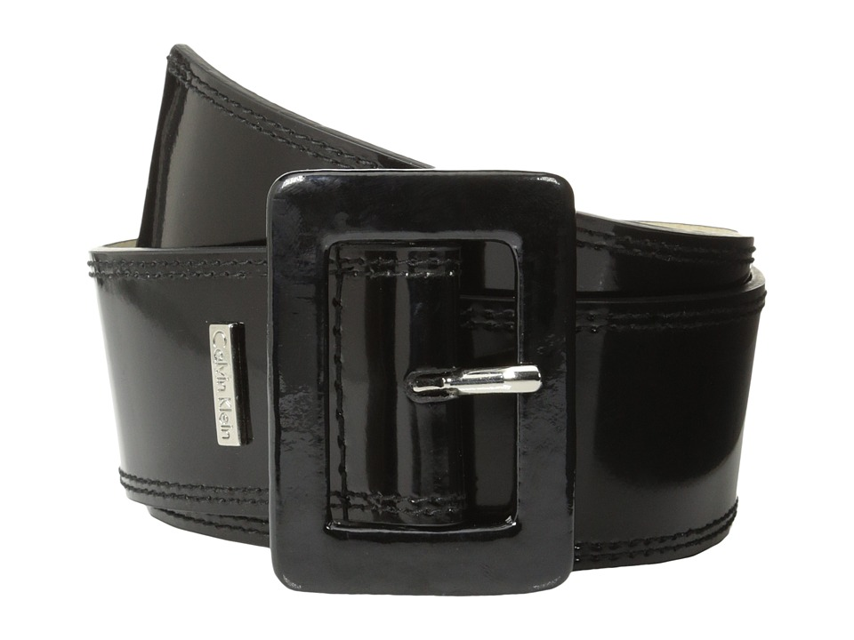 Calvin Klein 2 1/8 Patent Covered Buckle Black Womens Belts