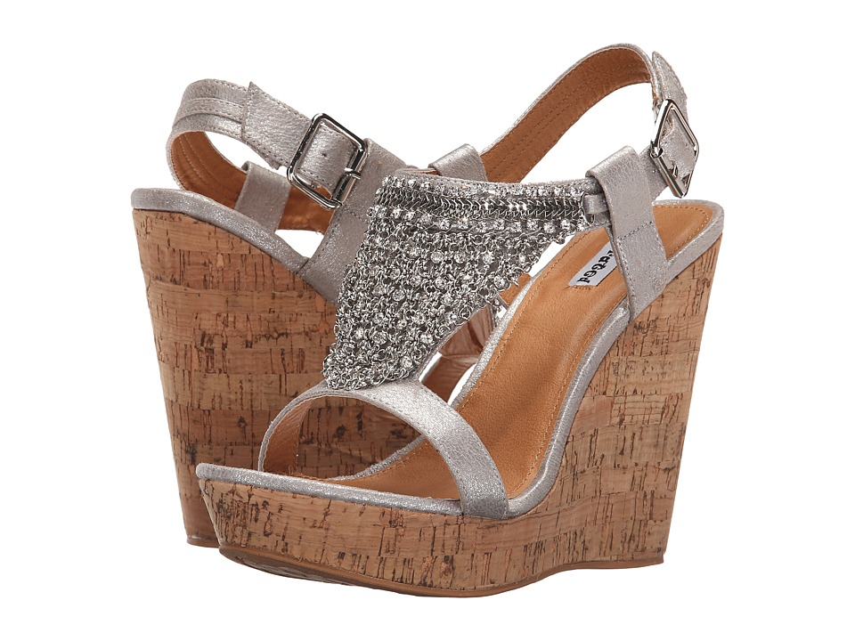 Not Rated Tourmaline Silver Womens Wedge Shoes