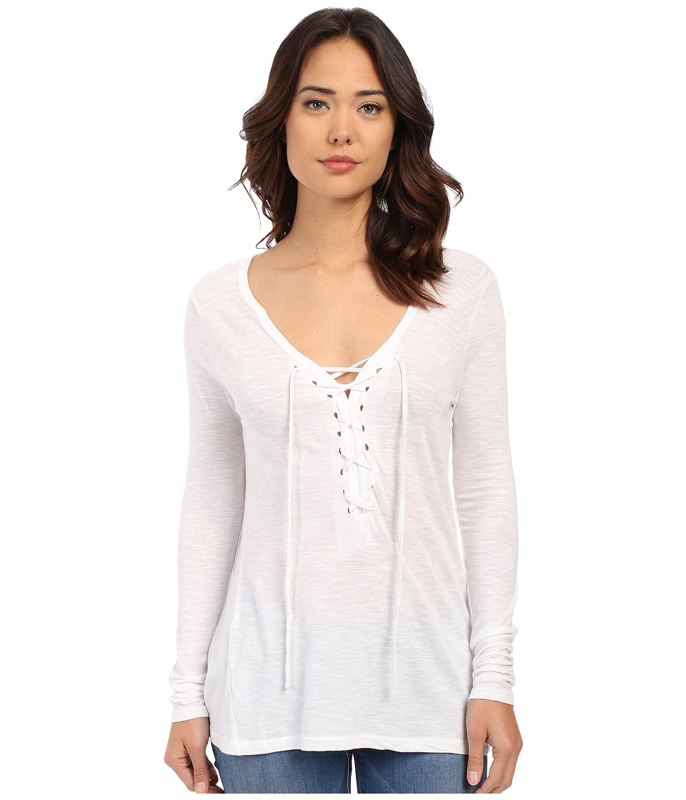 Brigitte Bailey Darcy Tie Front Top White Womens Long Sleeve Pullover