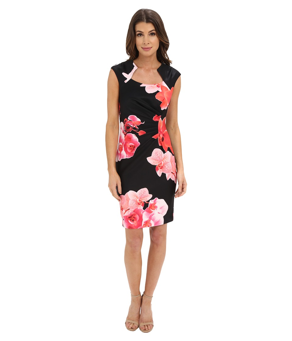 Calvin Klein Floral Print Sheath Dress CD6M4021 Black/Hibiscus Womens Dress