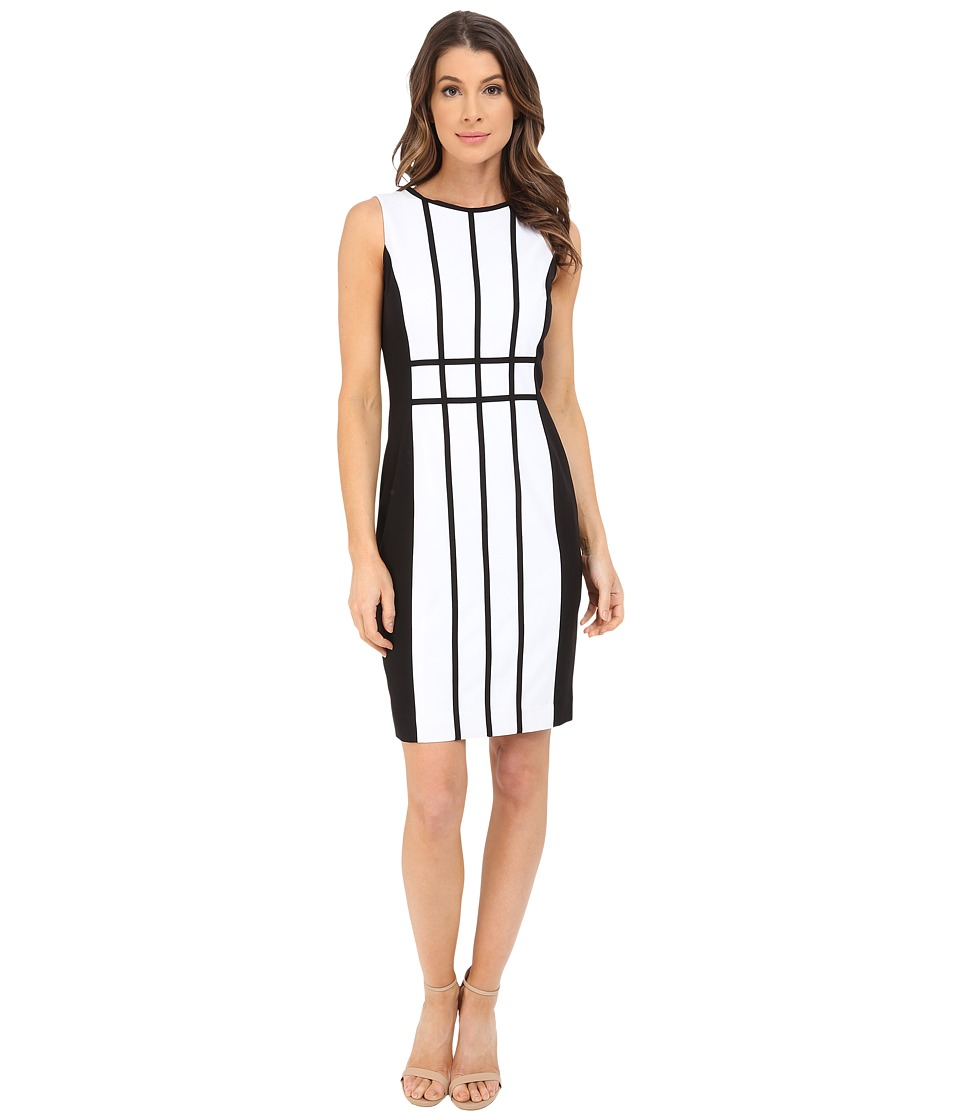 Calvin Klein Grid Pattern Sheath Dress CD6X17L9 White/Black Womens Dress