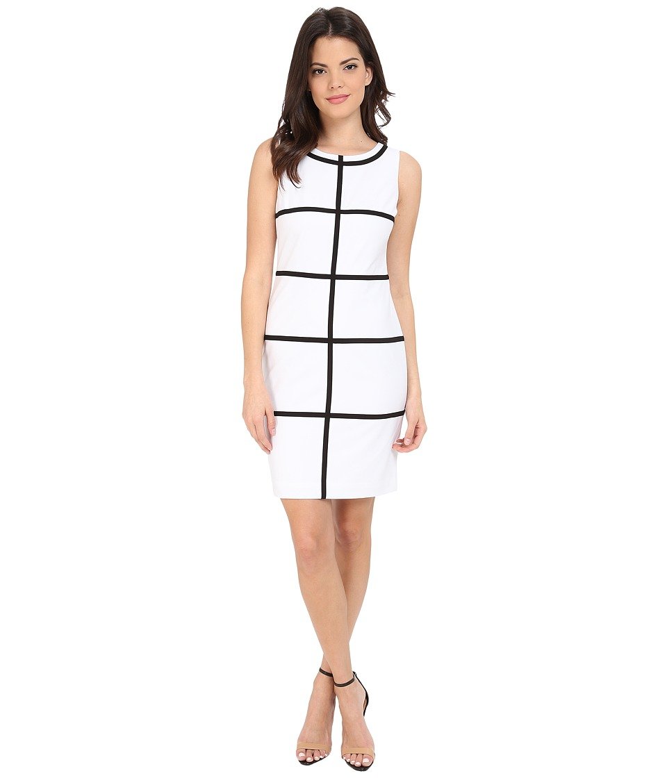 Calvin Klein Sheath Line Dress CD5X1H6D White/Black Womens Dress