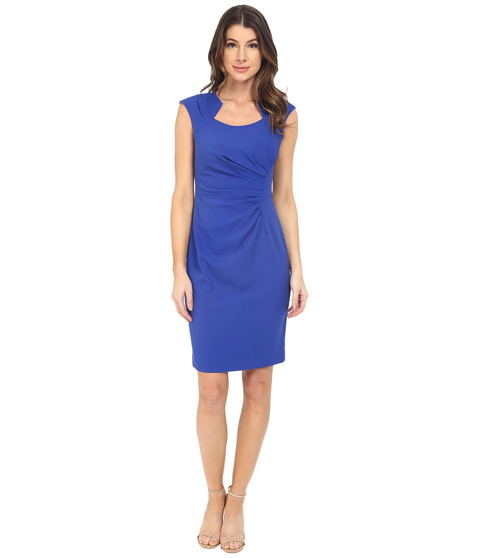 Calvin Klein Cap Sleeve Ruched Sheath Dress Atlantis Womens Dress