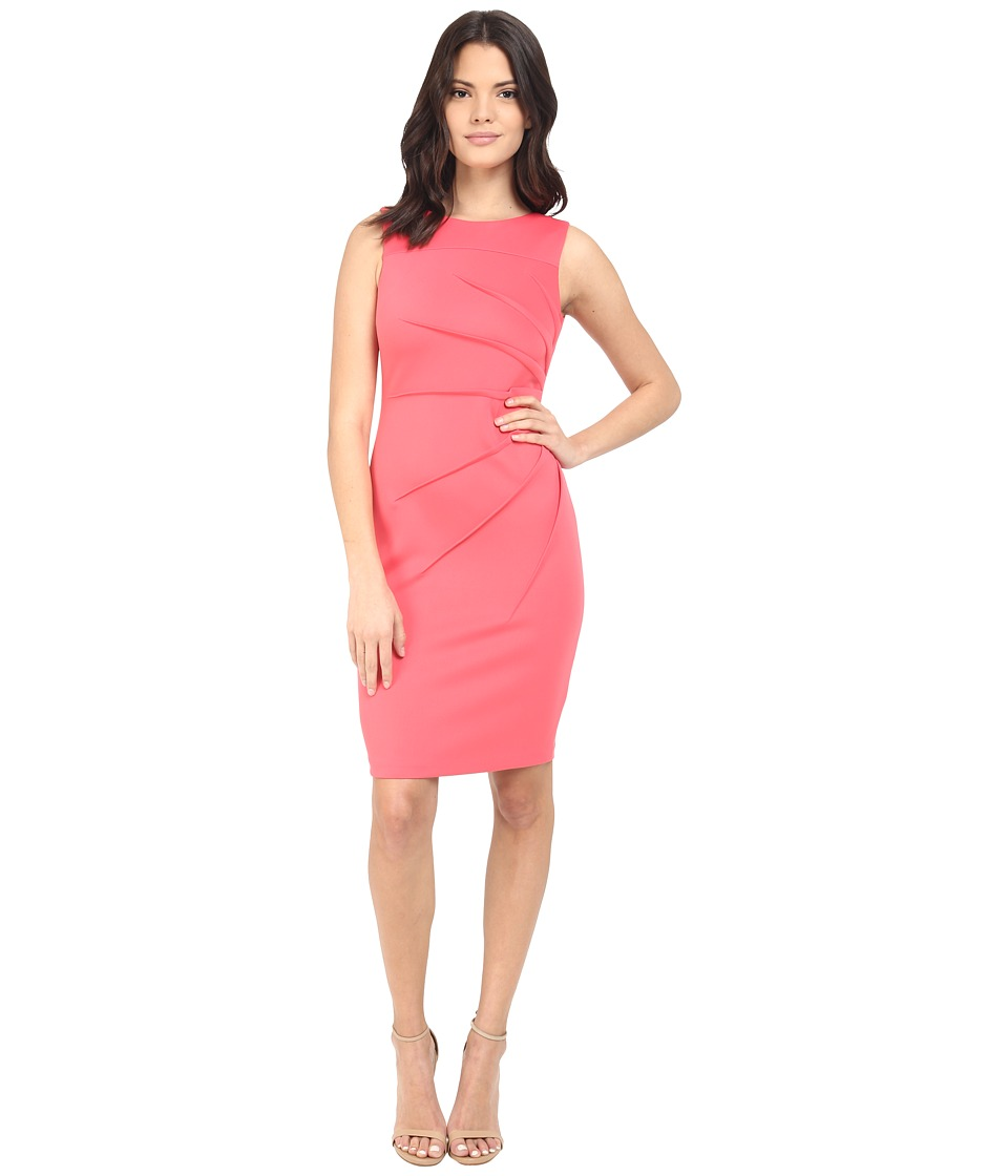 Calvin Klein Starburst Sheath Dress CD6M1B4P Coral Womens Dress