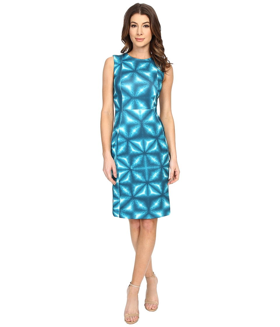 Calvin Klein Patterned Sheath Dress CD6M2A00 Lagoon Multi Womens Dress