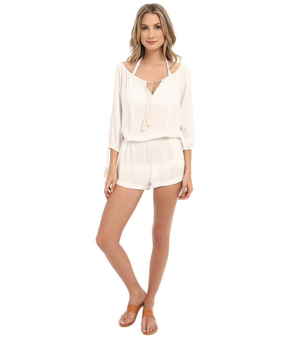 LSpace Ocean City Romper Cover Up Ivory Womens Swimsuits One Piece