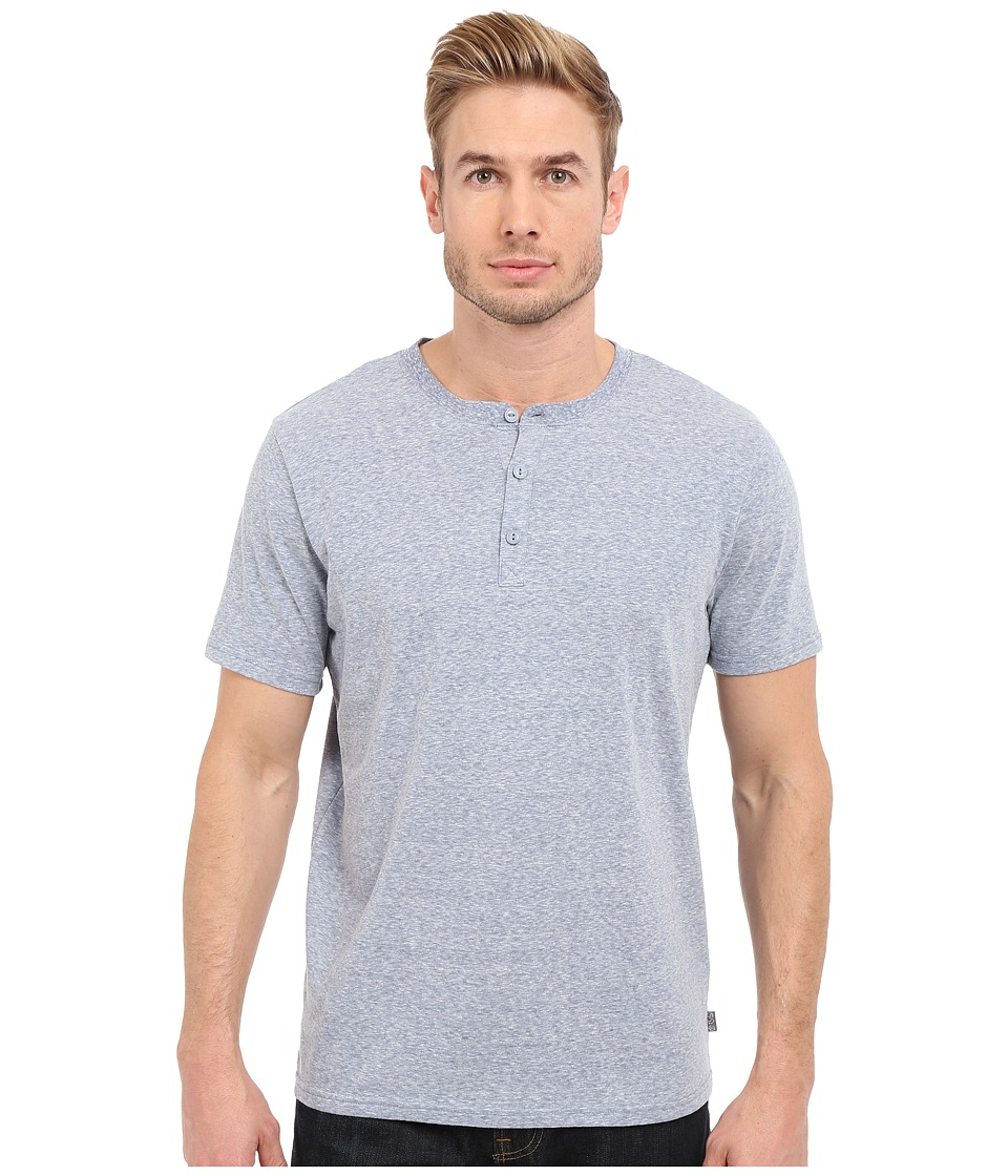 Threads 4 Thought Baseline Short Sleeve Tri Blend Henley China Blue Mens Short Sleeve Pullover