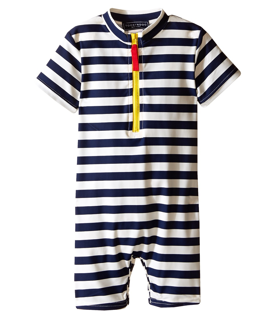 Toobydoo - Yellow Zip Short Sleeve Sunsuit (Infant/Toddler) (Navy/White) Boys Swimsuits One Piece