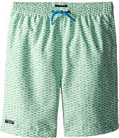 Toobydoo - Green/White Print w/ White Lace Drawstring Swim Shorts (Infant/Toddler/Little Kids/Big Kids)