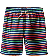 Toobydoo - Rainbow Multi Stripe w/ White Lace Drawstring Swim Shorts (Infant/Toddler/Little Kids/Big Kids)