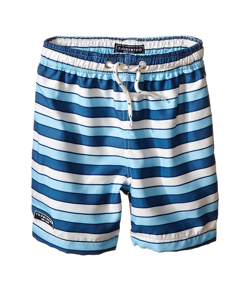 Toobydoo Multi Stripe Blue/White Lace Drawstring Swim Shorts Infant/Toddler/Little Kids/Big Kids Blue/Navy/White Boys Swimwear
