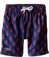 Toobydoo - Red/Navy Printed Swim Shorts/White Lace Drawstring (Infant/Toddler/Little Kids/Big Kids)