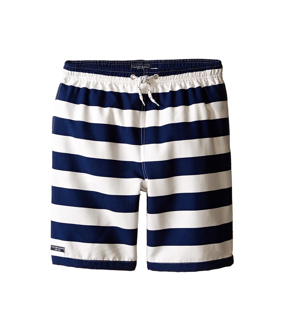 Toobydoo Stripe Swim Shorts w/ White Lace Drawstring Infant/Toddler/Little Kids/Big Kids Navy/White Boys Swimwear
