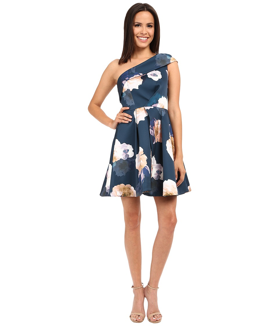 KEEPSAKE THE LABEL Cold Shoulder Mini Dress Dark Faded Floral Womens Dress
