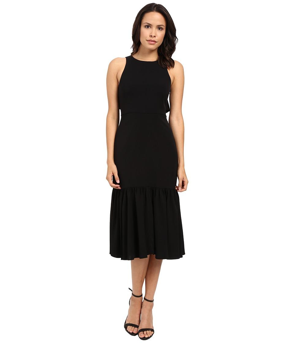 Rebecca Taylor Stretch Silk Blend Sleeveless Gown Black Womens Dress