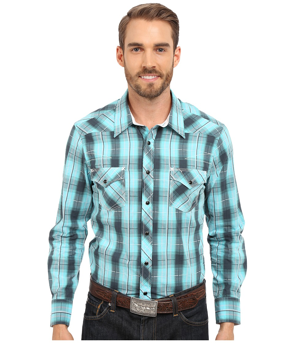 Rock and Roll Cowboy Long Sleeve Snap B2S6384 Green Mens Clothing