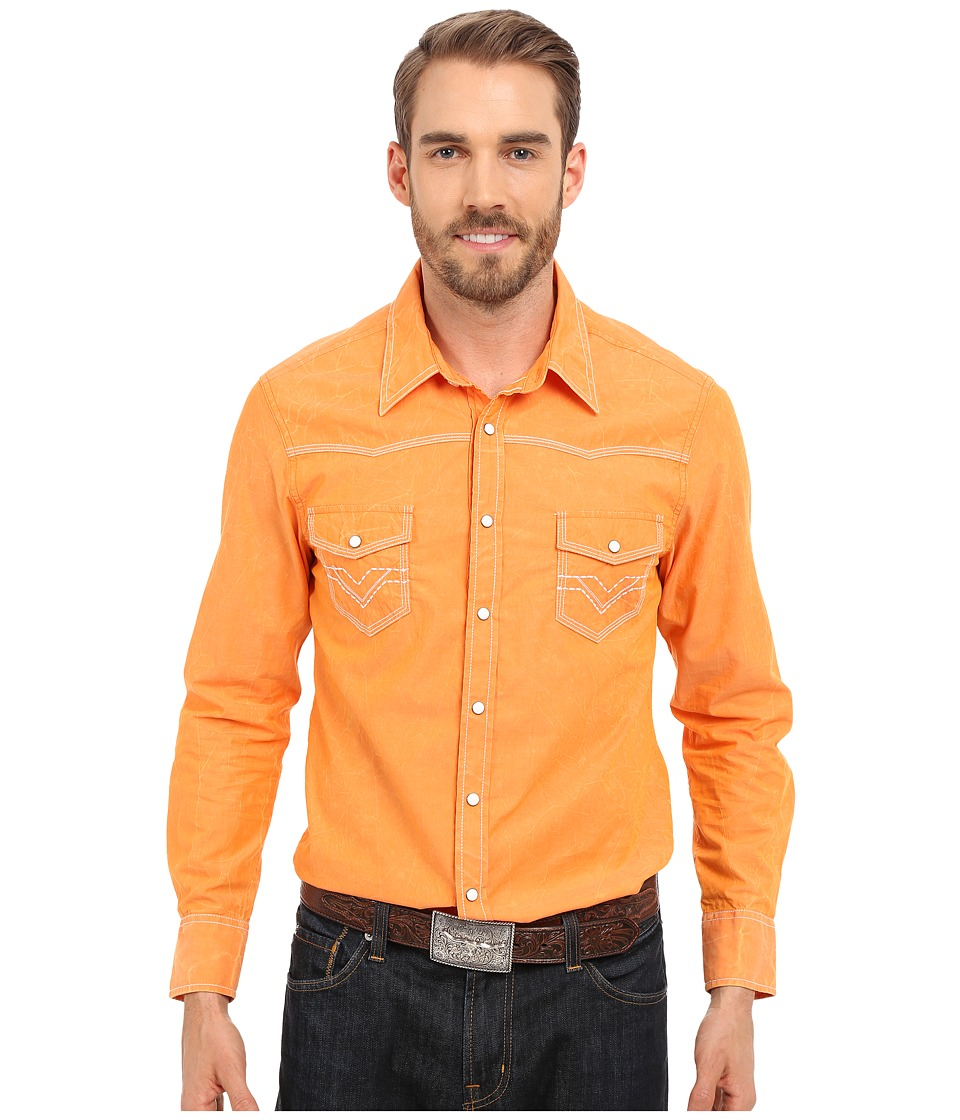 Rock and Roll Cowboy Long Sleeve Snap B2S6287 Orange Mens Clothing