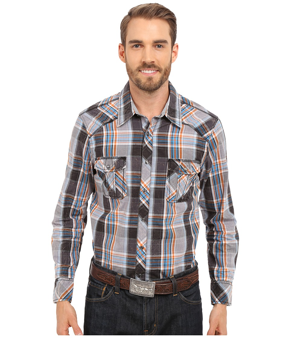 Rock and Roll Cowboy Long Sleeve Snap B2S6274 Grey Mens Clothing