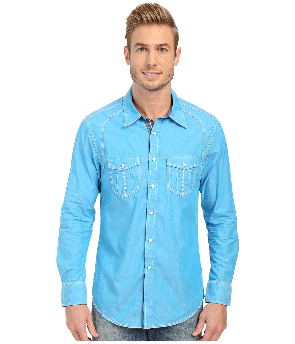 Rock and Roll Cowboy Long Sleeve Snap B2S6286 Turquoise Mens Long Sleeve Button Up