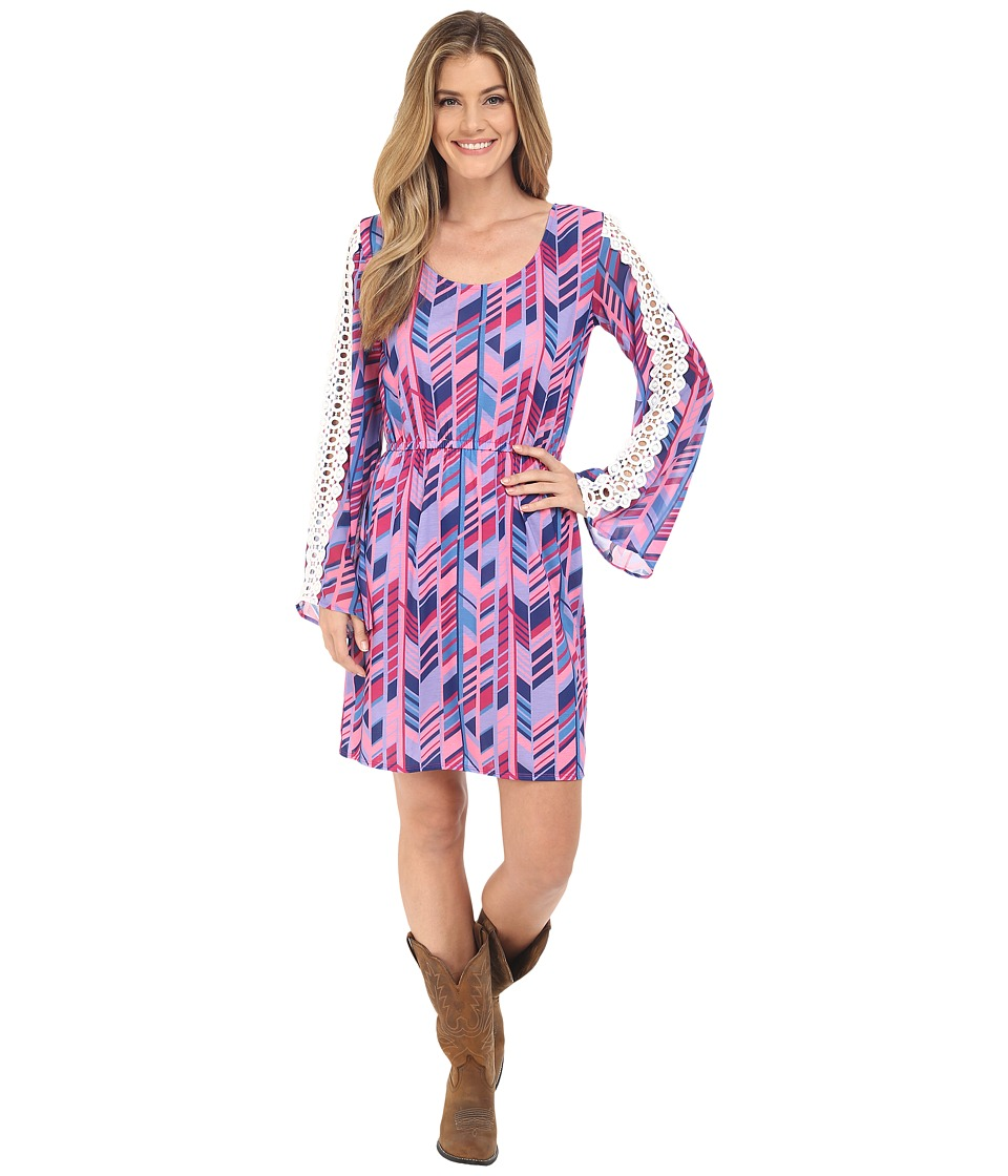 Rock and Roll Cowgirl Bell Sleeves Dress 18 6718 Fuchsia Womens Dress
