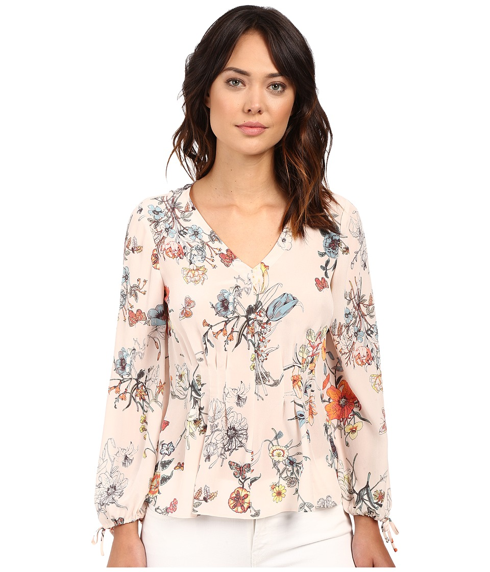 Rebecca Taylor Meadow Floral Print Long Sleeve Blouse Pink Combo Womens Blouse