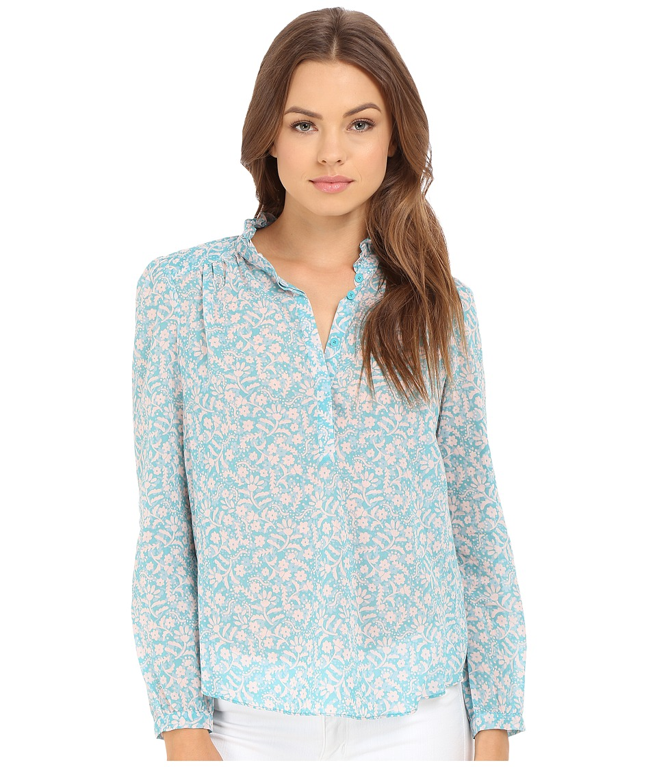 Rebecca Taylor Provence Block Print Long Sleeve Top Turquoise Combo Womens Long Sleeve Pullover