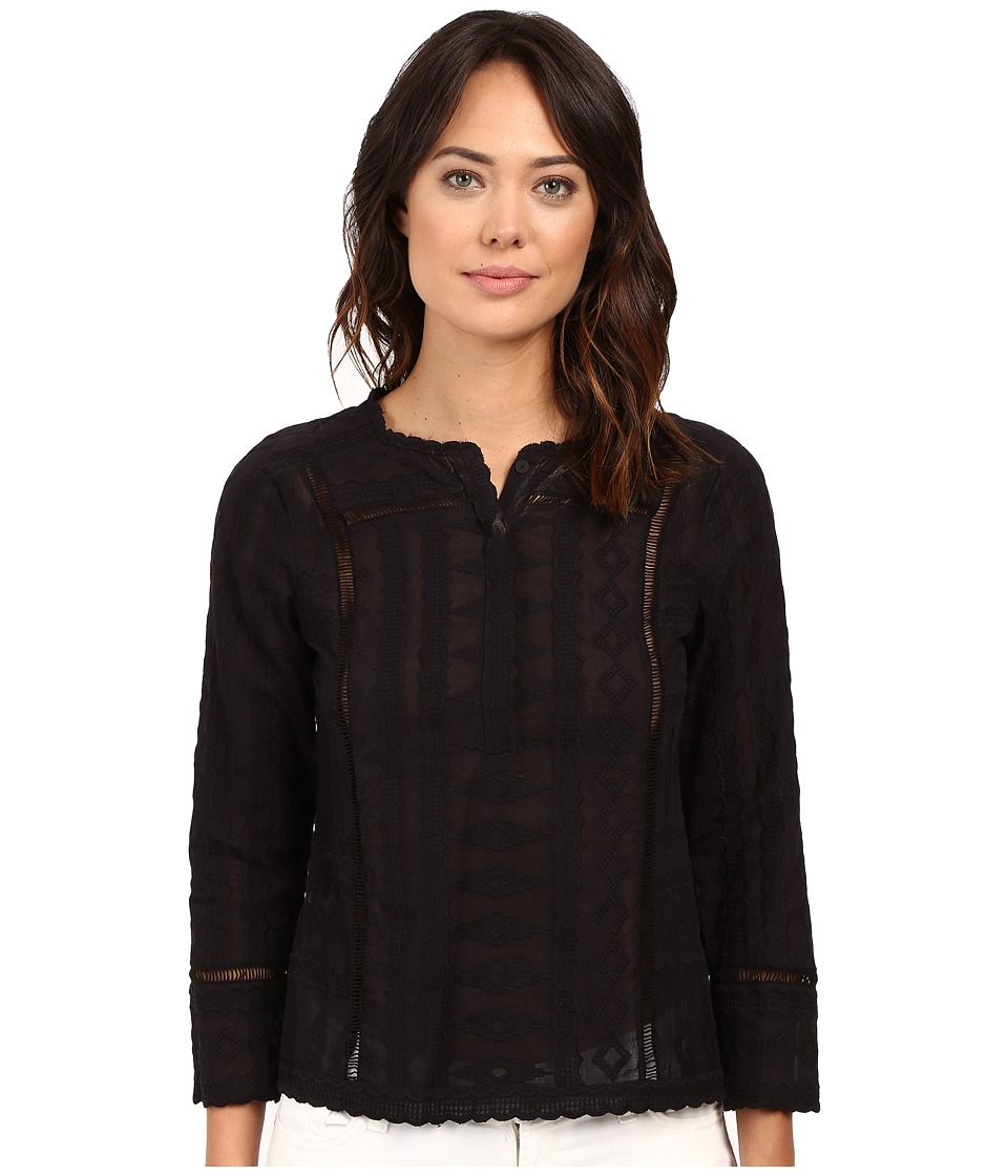 Rebecca Taylor Embroidered Gauze Long Sleeve Embroidered Gauze Top Black Womens Long Sleeve Pullover