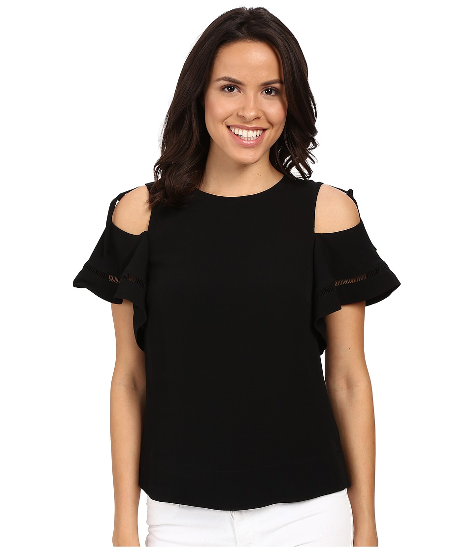 Rebecca Taylor Lila Crepe with Trims Short Sleeve Open Shoulder Top Black Womens Blouse