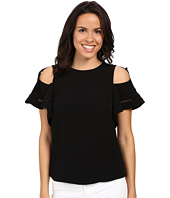 Rebecca Taylor - Lila Crepe with Trims Short Sleeve Open Shoulder Top