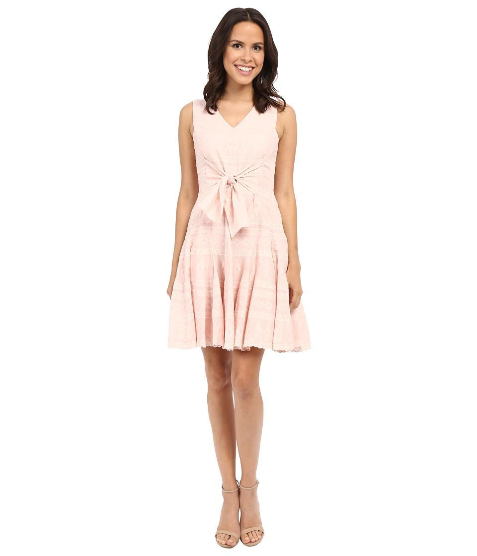 Rebecca Taylor Embroidered Gauze Sleeveless Embroidered Gauze Dress Light Quartz Womens Dress