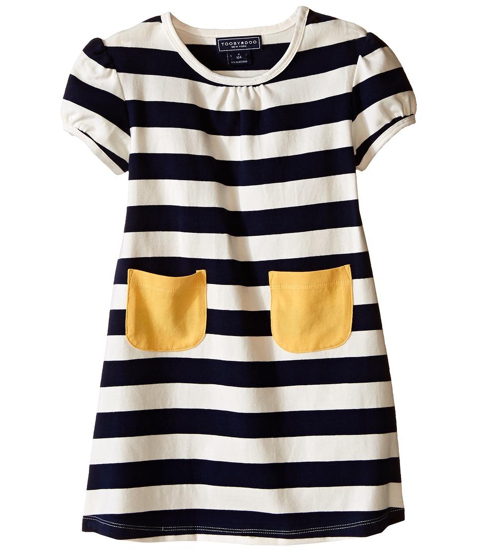 Toobydoo Short Sleeve Pocket Dress w/ Yellow Pocket Infant/Toddler Navy/Yellow/White Girls Dress